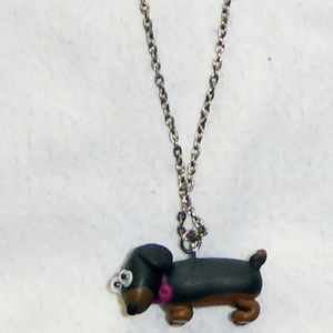 """DACHSHUND NECKLACE DOG PENDANT SILVER CHAIN 16"""""""